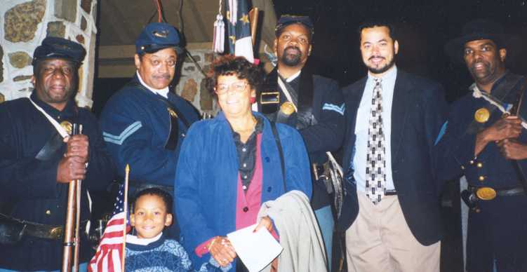 Jason Samuel, Phyllis and David Brown and Pvt. Gerald Wellington, Cpl. Norm Hill, Cpl. Charles Rawlins & Sgt. Bill Radcliff